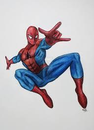 drawn spiderman colored pencil color drawn spiderman colored