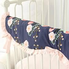 berkeley u0027s navy u0026 blush floral bumperless crib bedding caden lane