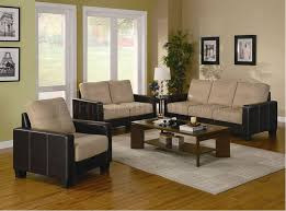 Khaki Microfiber Pc Living Room Set WDark Brown Vinyl Base - Microfiber living room sets
