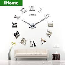 Large Mirrored Wall Clock Living Room Diy Large Quartz Acrylic Mirror Wall Clock 3d Roman