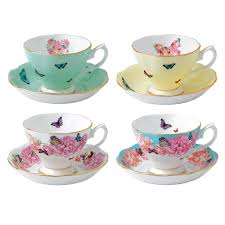 miranda kerr for royal albert set of 4 teacups saucers royal
