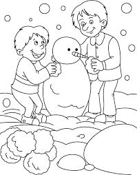 boys making snowman coloring download free boys making