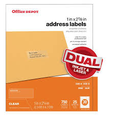 Office Depot by Office Depot Brand Clear Inkjetlaser Address Labels 1 X 2 58 Pack