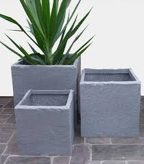 Tall Plastic Planters by Plastic Stone Look Cube Planters From Potstore Co Uk