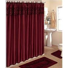 Fabric Shower Curtains With Matching Window Curtains Amazon Com 4 Piece Bathroom Rug Set 3 Piece Burgundy Flocking