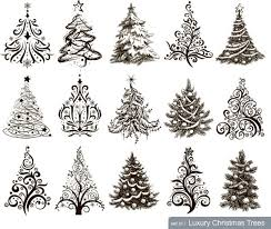 hand drawn christmas tree mix design vector free vector vector