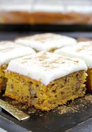 Pumpkin Walnut Bars With Cream Cheese Frosting Sweet Spicy Kitchen