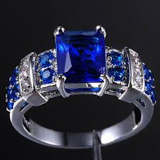tanzanite blue rings images Women 39 s blue tanzanite crystal gemstone 10kt white gold filled jpg