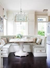 furniture dining room design using banquette bench plus cool white banquette bench with cozy cushion seat plus chandelier and wooden floor for dining room decoration