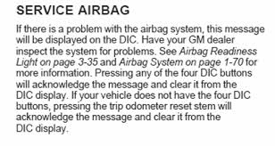 2006 chevy silverado service airbag light what does it mean when i get the service airbag message in the
