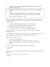 preliminary chemistry mole calculations mole unit gases