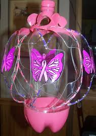 upcycled plastic soda bottle cancer ribbon with butterfly wind