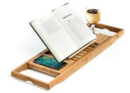 Wine Glass Holder For Bathtub Natural Bamboo Bathtub Caddy Tray Organizer With Book Tablet