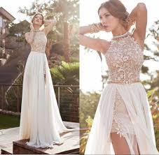 vintage summer wedding dresses 2017 halter lace chiffon plus size evening dresses