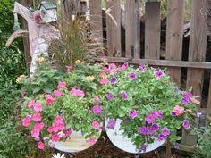 double wash tub planter garden planters planters and gardens