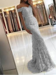 light gray formal dresses mermaid off the shoulder light gray lace prom dress with appliques