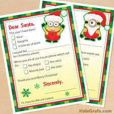 santa claus letters printable minion letters to santa claus