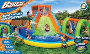 amazon com banzai splash camp adventure inflatable water park