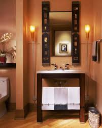 Masculine Bathroom Designs Sandy Coral Wall Color With Tube Shaped Floor Lamps For Masculine