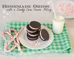 homemade oreos with a candy cane filling