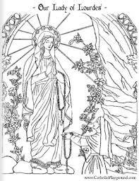 saint coloring page our lady of lourdes and saint bernadette catholic coloring page
