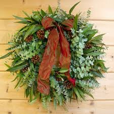 eucalyptus pinecone wreath sprigs pinecones u0026 shimmery bow