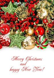 christmas decorations in red gold green holidays background
