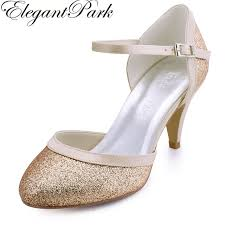 wedding shoes mid heel woman silver gold toe buckle mid heel wedding bridal shoes
