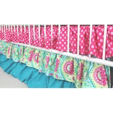 Pink And Green Crib Bedding Lavinia Aqua Pad Ruffled Crib Baby Bedding Set And