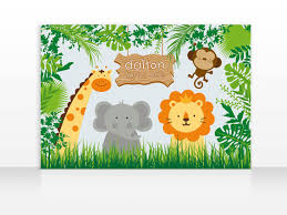 Jungle Backdrop Safari Jungle Animals Birthday Printable Banner Backdrop 60x40