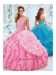 fifteen dresses halter top beaded bodice sweet fifteen dresses in pink