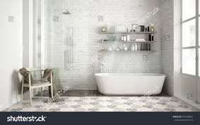Classic White Interior Design Scandinavian Bathroom Classic White Vintage Interior Stock