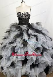 black and white quinceanera dresses beading and ruffles decorate for white and black dress for quince