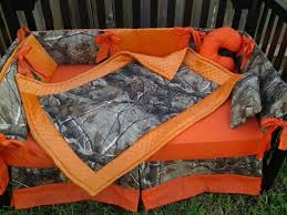 Camo Crib Bedding For Boys Real Tree Camouflage And Orange Minky Crib Bedding Set
