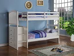 Built In Bunk Bed Amazon Com White Mission Style Staircase Bunk Bed With Built In