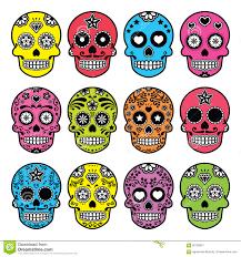 dia de los muertos decorations mexican sugar skull dia de los muertos icons set stock