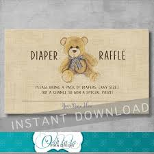 vintage teddy bear baby shower diaper raffle ticket insert