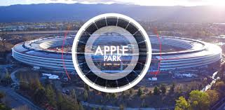 apple park glows to life in new 4 minute drone flyover footage