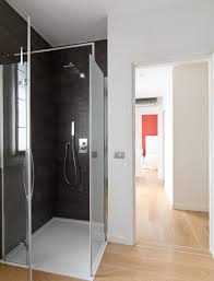 apartments luxury minimalist bathroom shower with glass material