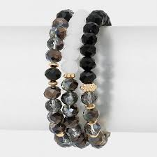 bead bracelet set images Black aurora faceted boho beaded bracelet set jpg