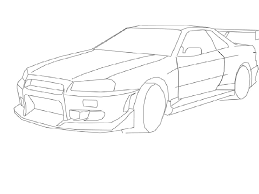 nissan skyline drawings easy sketch coloring page