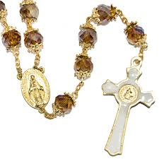 necklace rosary beads images Rosary beads brown crystal beaded gold plated necklace with jpg