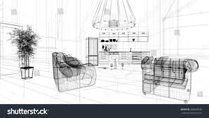 3d linear kitchen interior stock illustration 288455948 shutterstock