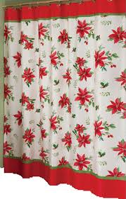 Winter Scene Shower Curtain by Poinsettia Shower Curtains Christmas Wikii