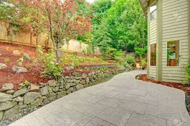 walkout patio with sitting area and backyard leveled landscape
