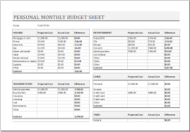 Excel Spreadsheet For Monthly Expenses Personal Monthly Budget Sheet For Ms Excel Excel Templates