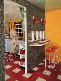 1950s interior kitchen breakfast bar atomic feature wall home