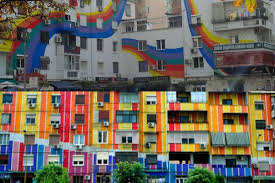 colorful building chasing the colorful buildings of tirana