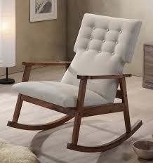 Knoll Rocking Chair Midcentury Modern Fabric Upholstered Button Tufted Rocking Chair