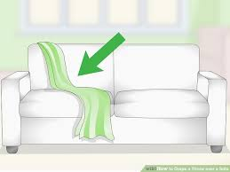 throw blankets for sofa 3 ways to drape a throw over a sofa wikihow